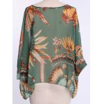 best Batwing Sleeves Feather Print Casual Flowy Blouse
