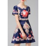 cheap Ethnic Printed A Line Dress