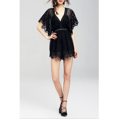 Lace Hem Cut Out Mini RomperDesigner Dresses<br>Lace Hem Cut Out Mini Romper<br><br>Brand: CHARSU<br>Material: Cotton,Polyester<br>Composition: 70% Polyester,30% Cotton<br>Fit Type: Regular<br>Pattern Type: Solid<br>Embellishment: Hollow Out<br>Style: Fashion<br>Elasticity: Micro-elastic<br>With Belt: No<br>Weight: 0.290kg<br>Package Contents: 1 x Romper