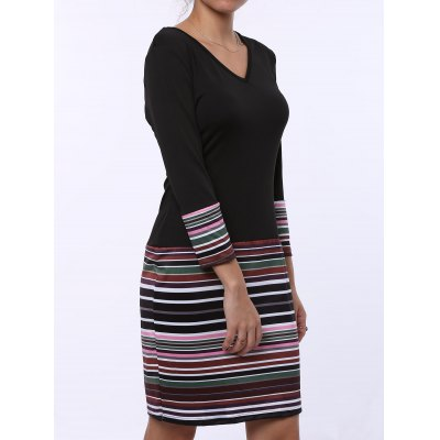 Fashion V-Neck Stripe Spliced Long Sleeve Dress For Women