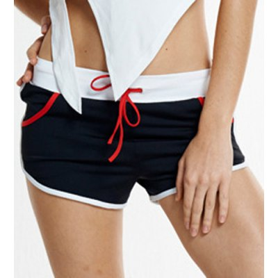 active-style-elastic-waist-patchwork-sport-shorts-for-women