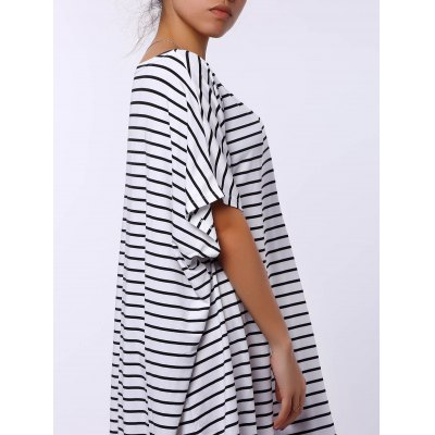 Casual Short Sleeve Striped Asymmetric Dress For Women