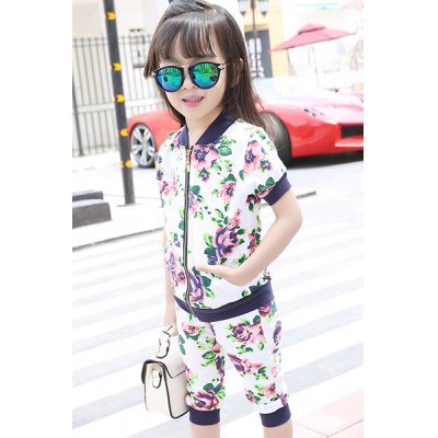 Stylish Floral Zipper Fly Top + Crop Pants Girl's Twinset