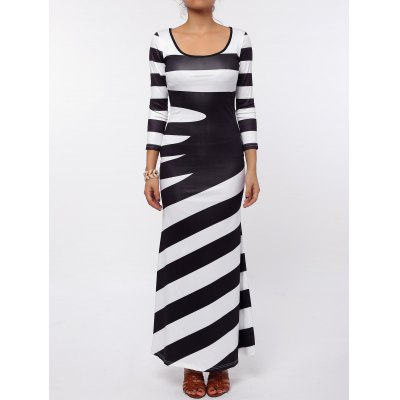 Stylish Scoop Neck 3/4 Sleeve Striped Maxi Dress For Women
