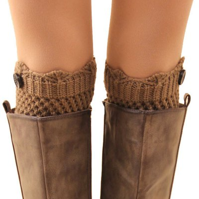 Button Embellished Hollow Out Mesh Shape Knitted Boot Cuffs For Women