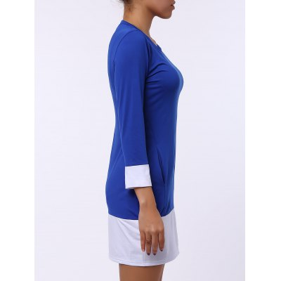 Casual Scoop Neck Color Block Long Sleeve Mini Dress For Women
