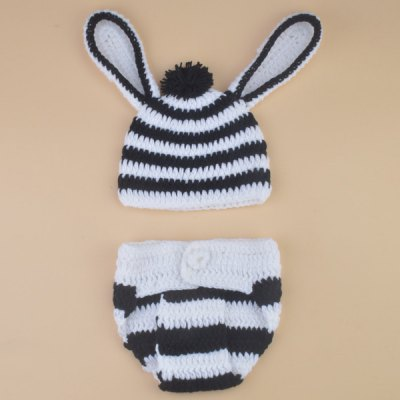 Set of Zebra Striped Knitting Props Clothes Ear Embellished Hat For Baby's Photography