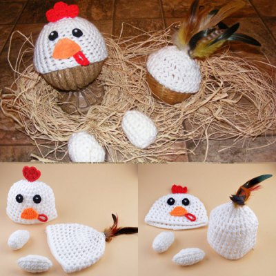 Set of Chickabiddy Knitting Props Clothes Hat Tail Embellished For Baby's Photography