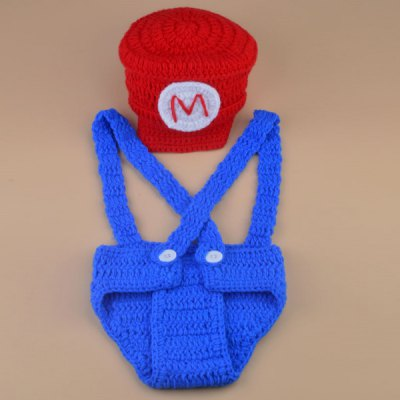 Set of Super Mario Knitting Props Clothes Hat Overalls For Baby's Photography
