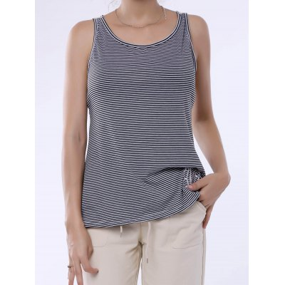 Lace Splicing Striped Embroidery Tank Top