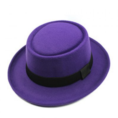 Black Bow Embellished Various Colors Flat Top Felt Jazz Hat For Women