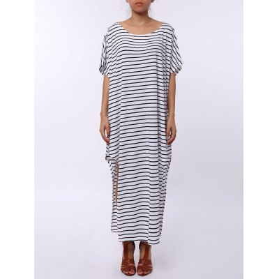 Asymmetric Maxi Striped Casual Slit Dress
