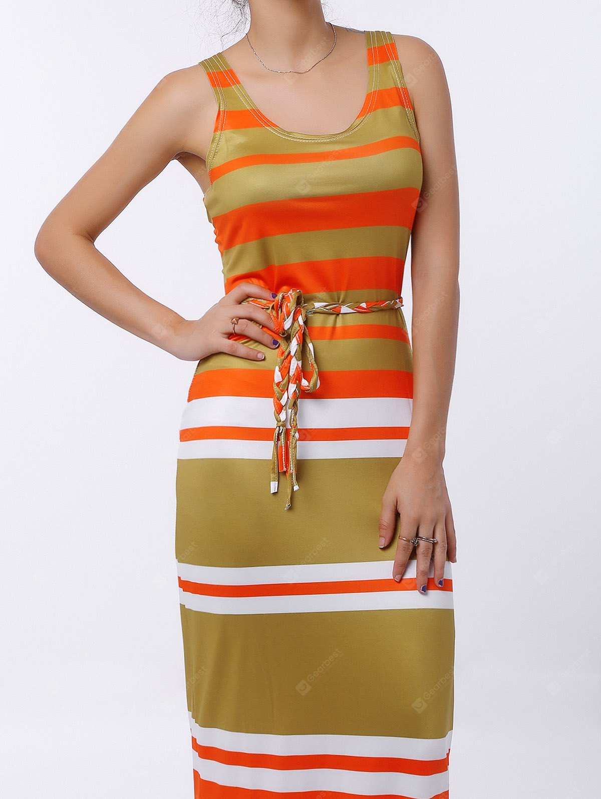 Brief U-Neck Stripe Sleeveless Dress Women L COLORMIX