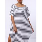Casual Short Sleeve Striped Asymmetric Dress For Women for sale