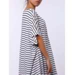 Short Sleeve Striped Slit T-shirt Maxi Dress photo
