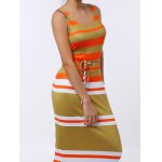Brief U-Neck Stripe Sleeveless Dress For Women for sale