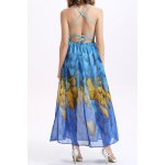 Elegant Printed Strappy Back Women's Summer Beach Chiffon Dress for sale