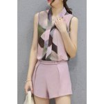 cheap Ladylike V Neck Sleeveless Printed Chiffon Top + Solid Color Shorts Twinset For Women