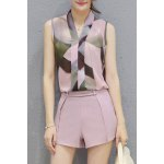 Ladylike V Neck Sleeveless Printed Chiffon Top + Solid Color Shorts Twinset For Women