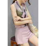 Ladylike V Neck Sleeveless Printed Chiffon Top + Solid Color Shorts Twinset For Women deal