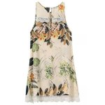 cheap Sweet Printed Keyhole Back Lace Trim Women's Dress