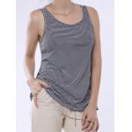 cheap Stylish Scoop Neck Lace Splicing Striped Embroidery Tank Top For Women