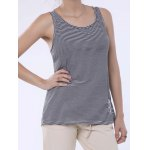 Stylish Scoop Neck Lace Splicing Striped Embroidery Tank Top For Women deal