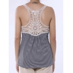 best Stylish Scoop Neck Lace Splicing Striped Embroidery Tank Top For Women