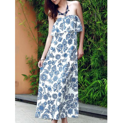 Strapless Flounce Printed Maxi Dress