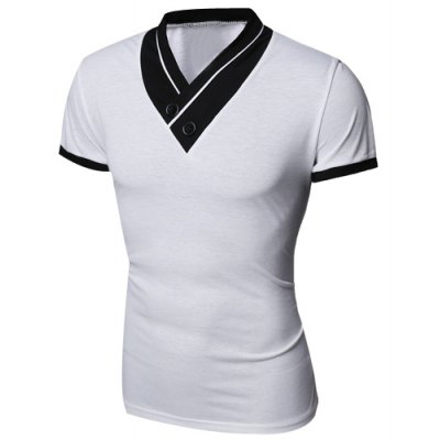 Turn-Down Collar Color Block Spliced Button Embellished Short Sleeve Men's T-Shirt