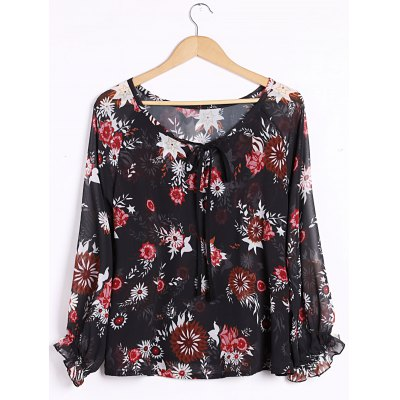 Plunging Neck Long Sleeve Floral Print Blouse For Women