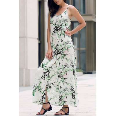 Printed Front Slit Maxi Strap Dress