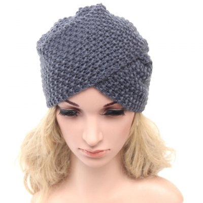 Solid Color Cross Weaving Knitted Beanie For Women