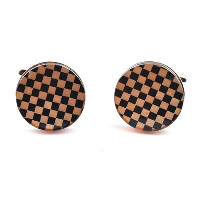 Pair of Stylish Checked Rectangle Embellished Cufflinks For Men