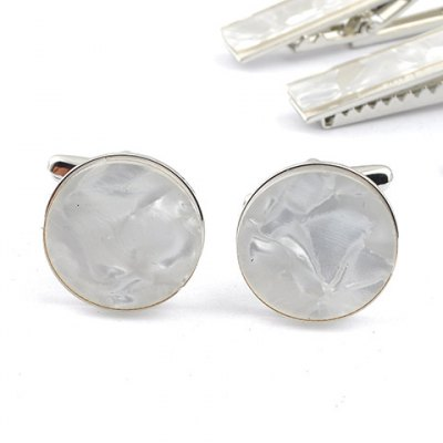 Cracked Rectangle Embellished White Cufflinks For Men