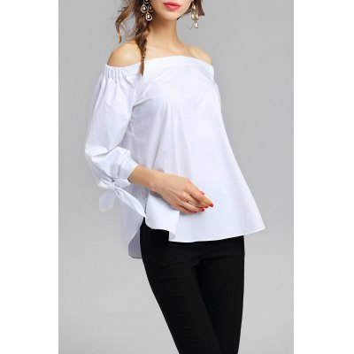 Off Shoulder Cotton BlouseDesigner Dresses<br>Off Shoulder Cotton Blouse<br><br>Material: Cotton<br>Composition: 100% Cotton<br>Clothing Length: Regular<br>Sleeve Length: Full<br>Collar: Off The Shoulder<br>Pattern Type: Solid<br>Embellishment: Bowknot<br>Style: Fashion<br>Seasons: Spring/Fall<br>Elasticity: Micro-elastic<br>Weight: 0.300kg<br>Package Contents: 1 x Blouse