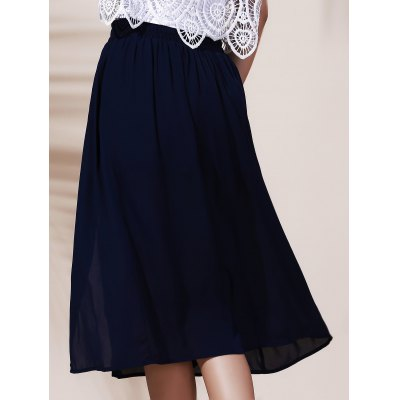Fashionable Solid Color Slit A-Line Skirt For Women