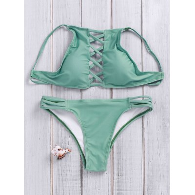 Halter Neck Solid Color Lace-Up Hollow Out Bikini Set