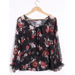 Sexy Plunging Neck Long Sleeve Floral Print Blouse For Women
