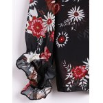 Sexy Plunging Neck Long Sleeve Floral Print Blouse For Women for sale
