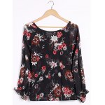 cheap Sexy Plunging Neck Long Sleeve Floral Print Blouse For Women