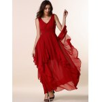 cheap Stylish Plunging Neck Sleeveless Solid Color Flounce Ruffles Women's Dress