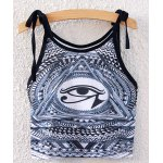Ethnic Spaghetti Strap Lace-Up Geometric Print Crop Top For Women