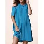 Stylish Round Neck Short Sleeve Solid Color Cold Shoulder Women's Dress