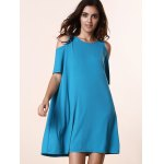 cheap Stylish Round Neck Short Sleeve Solid Color Cold Shoulder Women's Dress