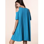 Stylish Round Neck Short Sleeve Solid Color Cold Shoulder Women's Dress for sale