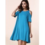 Stylish Round Neck Short Sleeve Solid Color Cold Shoulder Women's Dress deal