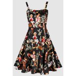 Vintage Spaghetti Straps Printed Ball Gown Dress For Women