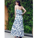best Vintage Flounce Printed Maxi Beach Tube Dress For Women
