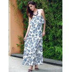 Vintage Strapless Flounce Printed Maxi Dress For Women deal